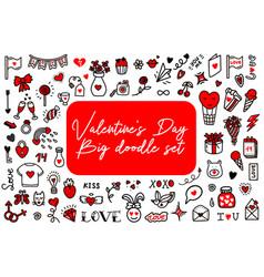Valentines day love doodles set vector