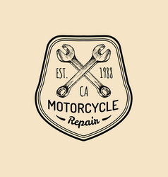 Vintage motorcycle repair logo retro vector