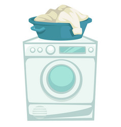 Washing machine and laundry clean clothes in basin vector