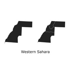 Western sahara map with regional division vector