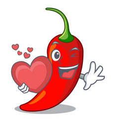 With heart hot chili pepper on cartoon table vector