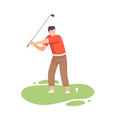 Young man swinging with golf club male golfer vector