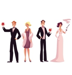 People in 1920s style cocktail dresses at a vector image