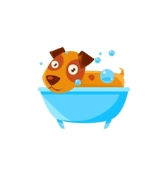 Puppy Taking A Bubble Bath In Tub vector image vector image