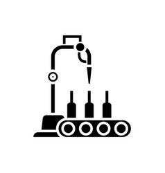 bottling line icon black vector image