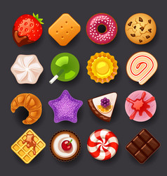 dessert icon set vector image vector image