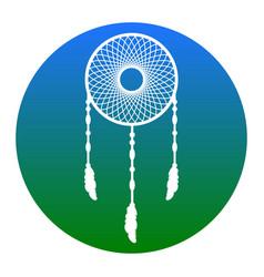dream catcher sign white icon in bluish vector image