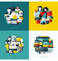 Flat icons set of cloud storage social media SEO vector image vector image