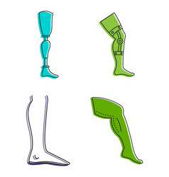 human legs icon set color outline style vector image vector image
