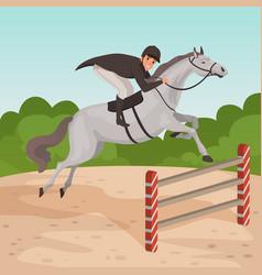 smiling man jockey on gray horse jumping over vector image vector image