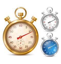 stopwatch in shiny metal case vector image vector image