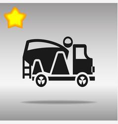 black concrete mixer icon button logo symbol vector image