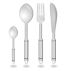 cutlery in silver color vector image