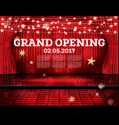 grand opening open red curtains with neon lights vector image