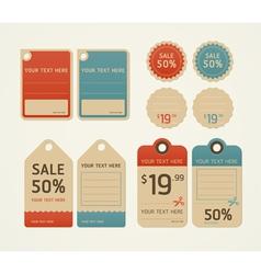 Price tags retro color design vector image