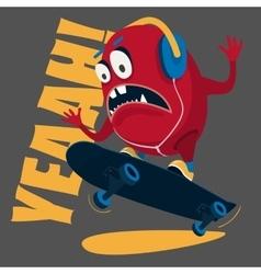 Skater monster stunts on a skateboard vector