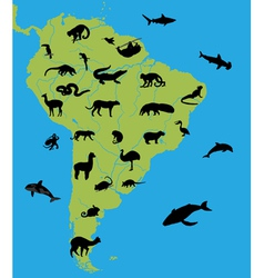 Animals on the map of South America vector image vector image