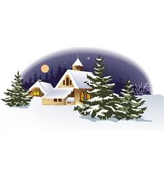 Christmas landscape background vector image vector image