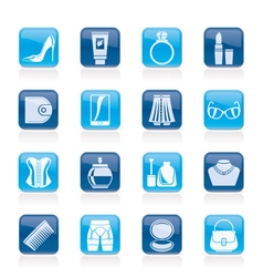 Female accessories and clothes icons vector image vector image