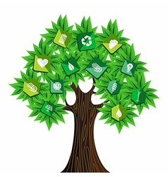 Green resources concept tree vector image vector image