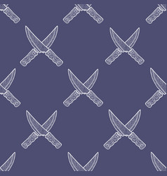 hand drawn crossed knives seamless pattern vector image vector image
