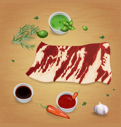 onglet with delicious sauces and spices vector image