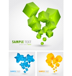 Set of backgrounds with 3d element vector image