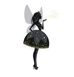 Silhouette of a beautiful princess vector image vector image