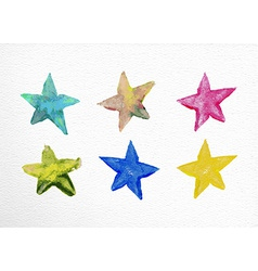 Watercolor stars set hand drawn vector