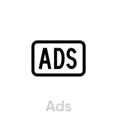 Ads blocking icon editable line vector