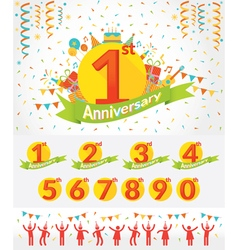 Anniversary Year Celebration and People Party Set vector image