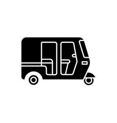Auto rickshaw black glyph icon vector