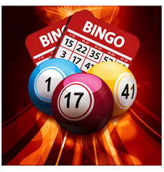 Bingo balls and cards on glowing abstract vector