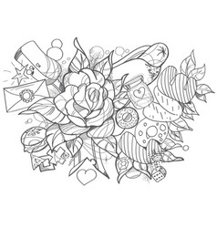 black and white sketch on a theme of love bouquet vector image