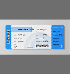 boarding ticket airplane flight pass mockup vector image