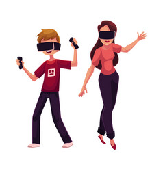 Boy and girl wearing virtual reality headsets vector