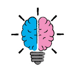 Brain bulb to crative ideas solutions vector