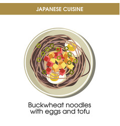 Buckwheat noodles with eggs and tofu from japanese vector