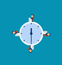 business team working at time concept vector image