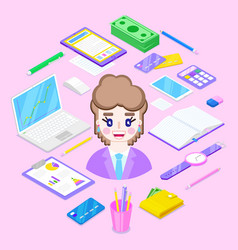 businesswoman and office stationary vector image