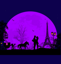 Carriage and lovers at night in paris vector