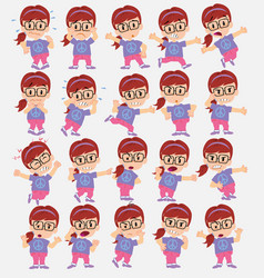 Cartoon character girl with glasses set with vector