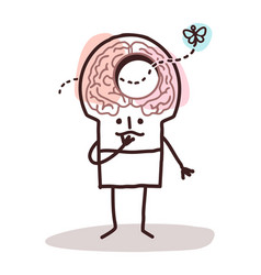 Cartoon man with a hole in brain and memory vector