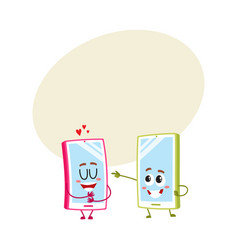 Cartoon mobile phone characters one showing love vector