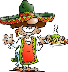 Cartoon of a Happy Mexican standing with som vector