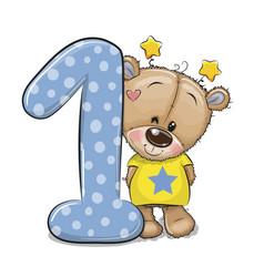 Cartoon teddy bear and number one isolated vector