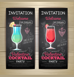 Chalk drawing flat cocktail valentine party poster vector