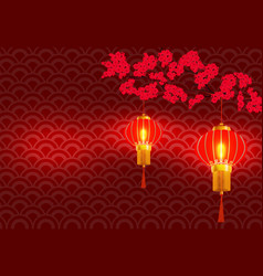 chinese new year on the branchy blossoming red vector image