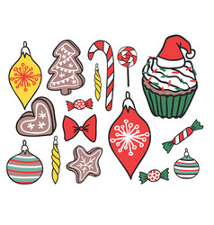 Christmas hand drawn gifts style holiday season vector