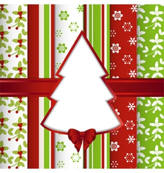 Christmas scrap book background with cut out tree vector image